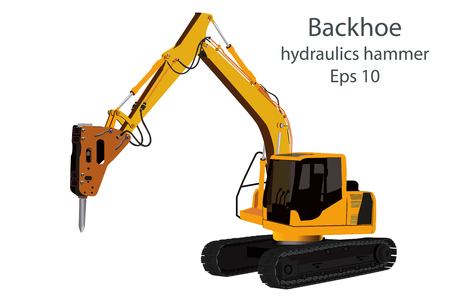 breaking wheel: backhoe and hydraulics hammer machine on white background. Illustration