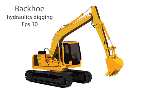 digging: backhoe hydraulics digging machine on white background.