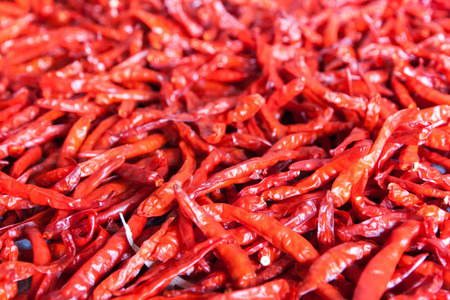 Dried red chili pepper spice with the sun. The food to be stored longer.