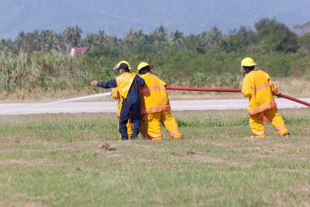 children's show: PRACHUAPKIRIKHAN, THAILAND - JAN 14, 2017: Firefighter in action show from Air Force in childrens day