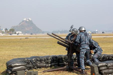 Anti-aircraft climbing Heavy machine gun. Training of troops combat Training