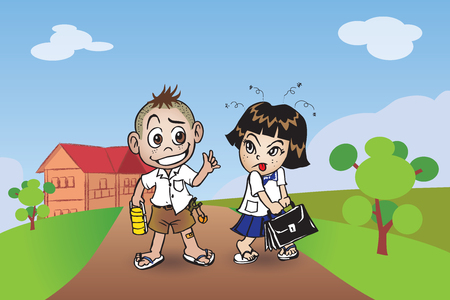 Children, boy and girl come back to school.