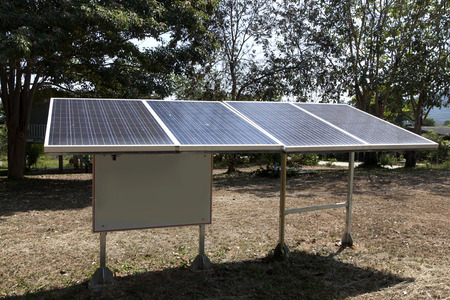 solar energy panels installed on the lawn for generating clean power