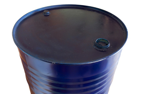 Two hundred liter oil barrels blue color on white background. object with work paths.