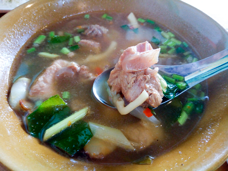 Hot and spicy with pork rib and tamarind. Thai herbs soup eat couple with rice