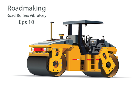 Road Rollers Vibratory a motor vehicle with a heavy roller, Heavy machinery used in roadmaking on white background. vector illustration.