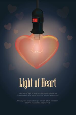 Light from the heart shape lamp on a dark blue background