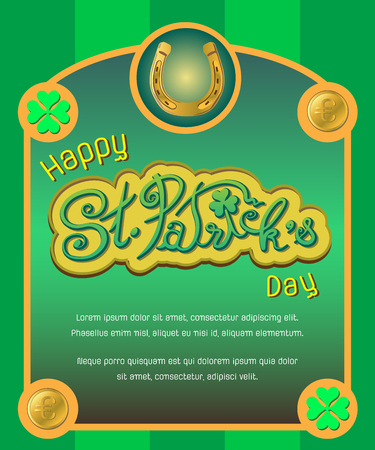Saint Patricks Day. St. Patricks Day card lucky symbol golden horseshoe and coins to celebrate luck on St Patricks Day on March 17th Illustration