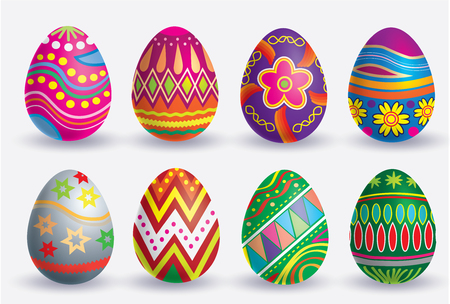 Easter egg icon set. The Vector illustration, isolated on white background.