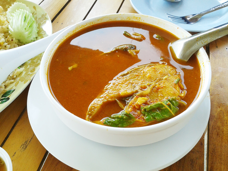 Indo Pacific king mackerels Sour Soup. Thai food style. Stock Photo