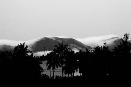 Evening misty view of a mountains. black and white pictures Stock fotó