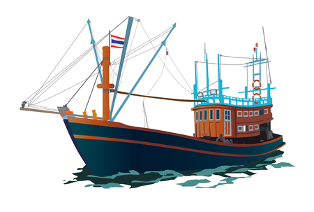 Thai Fishing Ship Vector illustration. Wooden Native boat on the sea.
