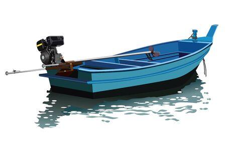 vecteur de bateau amarre longue queue sur fond blanc. Petit bateau de pêche en bois.