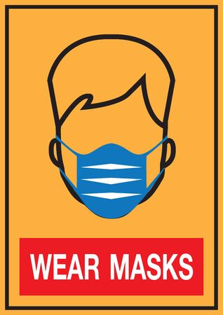 medical health mask. Prevent spread And receiving the virus with a mask gag and nose. Warning sign. design vector image.