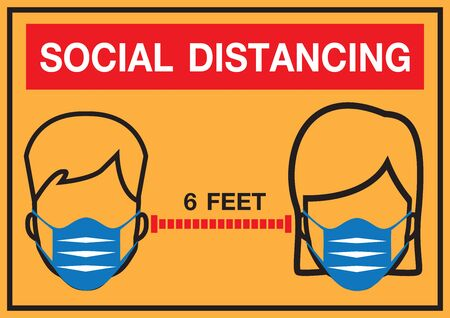 social distancing vector illustration design. keep distance in public society people to protect from COVID-19.