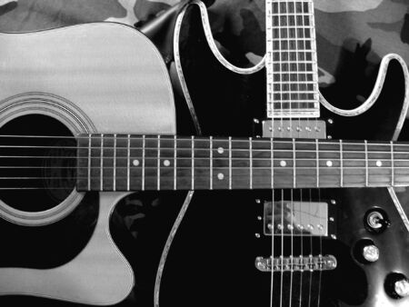 guitars electric guitar crossing acoustic Banco de Imagens