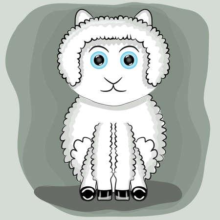Cute lama sitting vector illustration 向量圖像