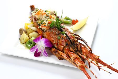 Stir-fried Lobster with Garlic & Butter Sauce on white square porcelain plate Isolated on white background with shadow Over Front view, Expensive Seafood. Selective Focus at Head of Lobster