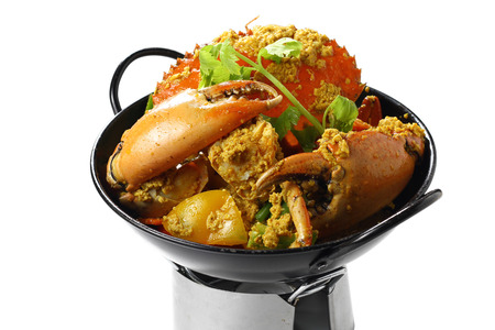 Stir-fried Giant Mud-Crab (Mangrove-Crab or Black-Crab) with Yellow Curry Powder on Black Pan on the Mini Oven, Isolated on White Background, High Angle Side View, Close-up Selective Focus at Food.