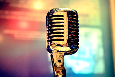 Retro Microphone On Stage(retro,microphone,stage)