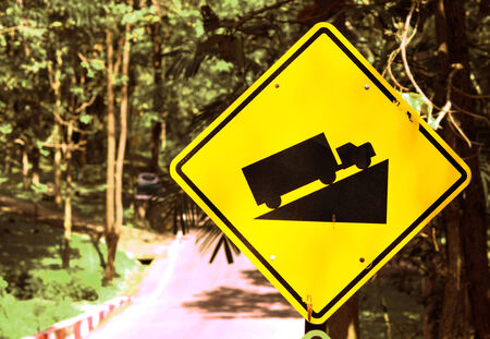 ramp: Ramp traffic signs beside country road Stock Photo