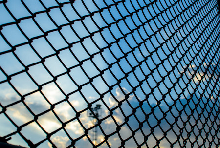 meshed: Grid leak foreground. Protection of animals used for leak Stock Photo