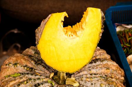 mini farm: Pumpkins on the market , cut into piece