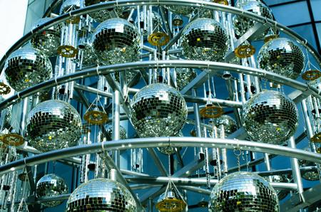 70s disco: Disco balls background with mirror balls Stock Photo