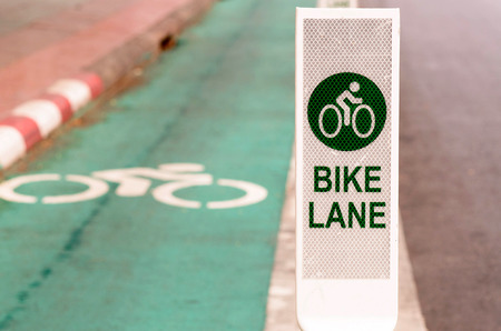 regulate: Bike lane, road for bicycles  in the city Stock Photo