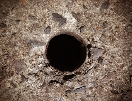 black hole: Black hole in cracked floor. Close up (hole, symbol, floor)