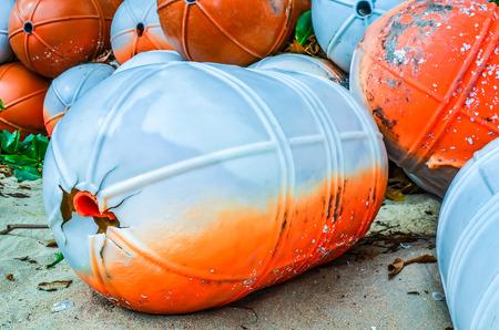 beach buoy: Plastic buoy on the beach tool buoy beach