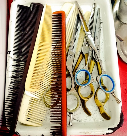 barrettes: Hair cutting shears and comb accessories scissor haircut Stock Photo