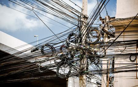 Tangle of Electrical Wires  Bangkok Thailand Standard-Bild