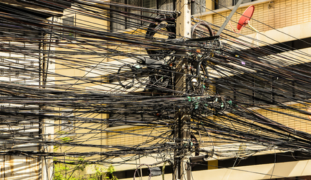 tangle: Tangle of electrical Wires background  Bangkok Thailand Stock Photo