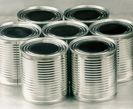 tin cans: Tin cans for food, Selective focus and color effect Stock Photo