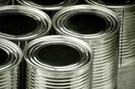 tinned goods: Close up of tin cans for food, Selective focus and color effect Stock Photo