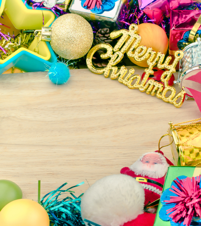 shimmery: Christmas set elements on wooden background with copy space