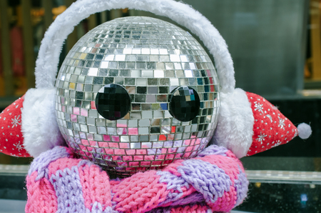 mirror ball: Happy snowman made from disco balls, Close up and Selective focus Stock Photo
