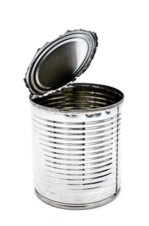 tinned goods: Tin can for food on white background, Isolate image