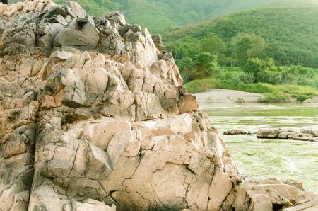 mekong river: Panoramic view of nice river rock, Mekong river, Laos A beautiful river rocks at mekong river, Laos