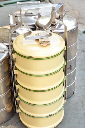 tiers: Vintage metal food carrier, Tiff-in Antique or food carrier