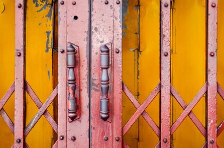 steel door handles of the old sliding door (door, handle, vintage) Stock Photo