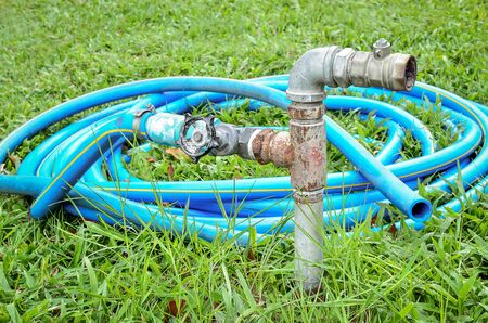 stop gate valve: Old water valve with blue rubber water hose in the sunlight Stock Photo