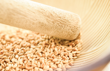 roasted sesame: Selective focus on the roasted sesame seeds in Japanese blow