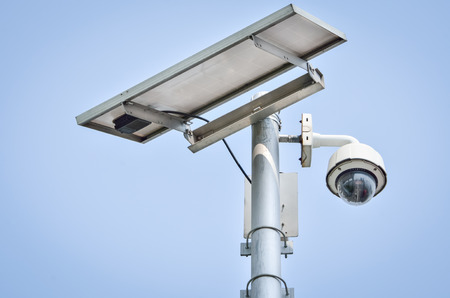 CCTV camera security with Solar panel in a big city