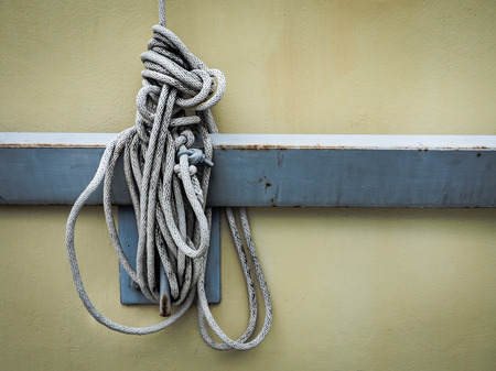 keywords link: Close up of white rope And Knot, with place your text