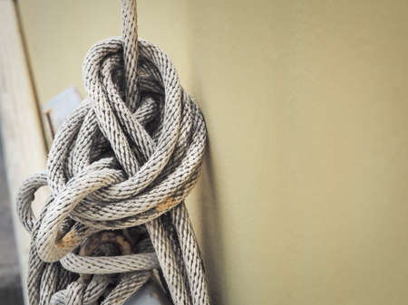 fixed line: Close up of white rope And Knot, with place your text