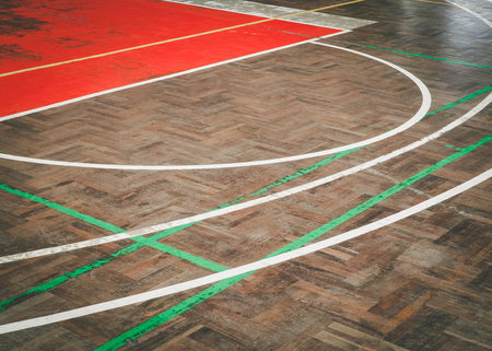 sport hall: Old concrete sport parquet court in sport Hall , This image background for sport concept Stock Photo
