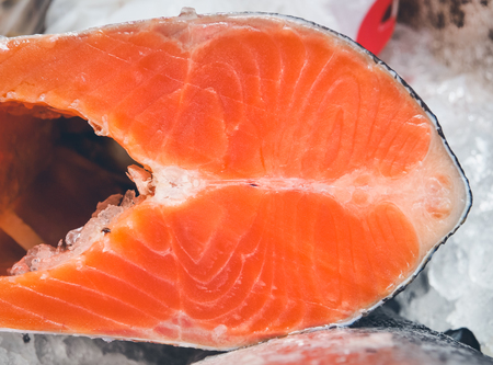 selective focus: Close up and selective focus, Fresh salmon sell in supermarket Stock Photo