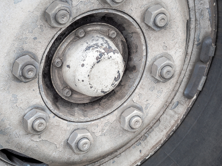 alloy: Old Steel Wheels, Selective focus and close up image Stock Photo
